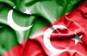 Waving flag of Turkey and Pakistan — Stock Photo