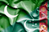 Waving flag of Turkmenistan and Pakistan — Stock Photo