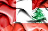 Waving flag of Lebanon and Peru — Stock Photo