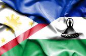 Wapperende vlag van lesotho en Filippijnen — Stockfoto