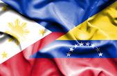 Waving flag of Venezuela and Philippines — Stock Photo