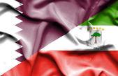 Waving flag of Equatorial Giuinea and Qatar — Stock Photo