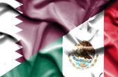 Bandeira do México e qatar — Fotografia Stock