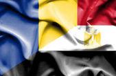 Waving flag of Egypt and Romania — Stock Photo