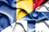 Waving flag of Finland and Romania — Stock Photo