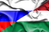Waving flag of Hungary and Russia — Stock Photo