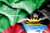 Antigua ve barbuda ve suudi arabistan bayrağı sallayarak — Stok fotoğraf