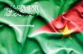 Vlající vlajka Burkiny faso a Saúdská Arábie — Stock fotografie