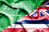 Waving flag of Hawaii and Saudi Arabia — Стоковое фото