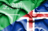 Waving flag of Iceland and Saudi Arabia — Stock Photo