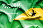 Waving flag of Sao Tome and Principe and Saudi Arabia — Stock Photo