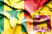 Waving flag of Sri Lanka and Senegal — Stock Photo
