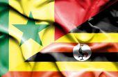 Uganda ve senegal Cumhuriyeti bayrağı sallayarak — Stok fotoğraf