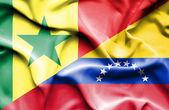 Waving flag of Venezuela and Senegal — Stock Photo