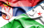 Waving flag of Dijbouti and Serbia — Stock Photo