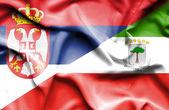 Bandera que agita de giuinea ecuatorial y serbia — Foto de Stock
