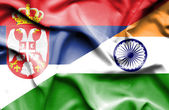 Waving flag of India and Serbia — Stock Photo