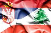 Waving flag of Lebanon and Serbia — Stock Photo