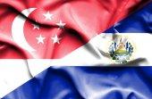 El salvador ve Singapur bayrağı sallayarak — Stok fotoğraf