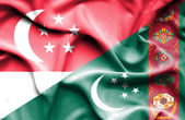 Waving flag of Turkmenistan and Singapore — Stock Photo