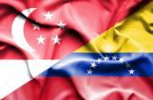 Waving flag of Venezuela and Singapore — Stock Photo