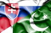 Waving flag of Pakistan and Slovakia — Stock Photo