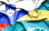 Viftande flagga bahamas och Slovenien — Stockfoto