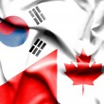 Waving flag of Canada and South Korea — Stock Photo #75797911