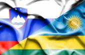 Waving flag of Rwanda and Slovenia — ストック写真