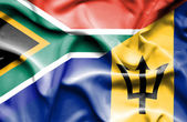 Waving flag of Barbados and South Africa — Stock Photo