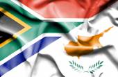 Waving flag of Cyprus and South Africa — Stock Photo