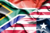 Viftande flagga liberia och Sydafrika — Stockfoto
