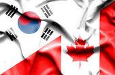 Flagge von Kanada und Südkorea winken — Stockfoto