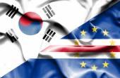 Waving flag of Cape Verde and South Korea — Stock Photo