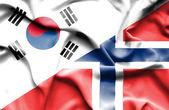 挪威和韩国那飘扬的旗帜 — 图库照片