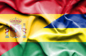 Waving flag of Mauritius and Spain — Stock Photo
