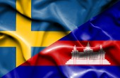 Waving flag of Cambodia and Sweden — Stock Photo
