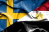 埃及和瑞典那飘扬的旗帜 — 图库照片