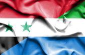 Sventolando la bandiera della sierra leone e Siria — Foto Stock
