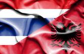 Arnavutluk ve Tayland bayrağı sallayarak — Stok fotoğraf