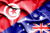 Waving flag of Australia and Tunisia — Stock Photo