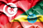 Waving flag of Ethiopia and Tunisia — Stockfoto