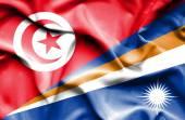 Waving flag of Marshall Islands and Tunisia — Stock fotografie