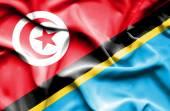 Waving flag of Tanzania and Tunisia — Stock Photo