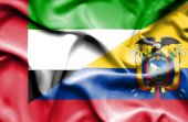 Waving flag of Ecuador and United Arab Emirates — Stock Photo