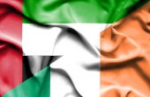 Irland och Förenade Arabemiraten viftande flagga — Stockfoto