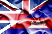 Waving flag of Cambodia and Great Britain — Stock Photo