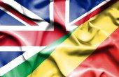 Mávání vlajkou konžské republiky a velké británie — Stock fotografie