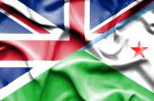 Waving flag of Dijbouti and Great Britain — Stock Photo