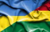 Waving flag of Bolivia and Ukraine — Stock Photo